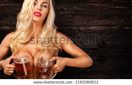 Sexy naked girl beer model