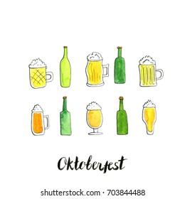 oktoberfest card, watercolor mugs and bottles of beer, alcohol drinks, hand drawn illustration