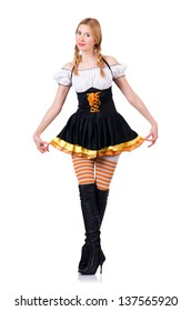 Oktoberfest concept with woman on white