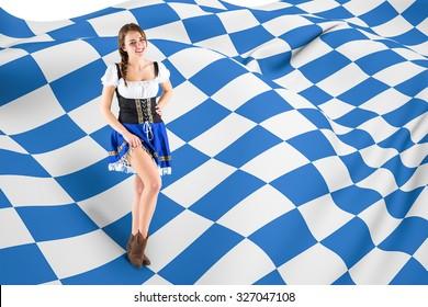 Oktoberfest girl lifting her skirt against blue and white flag