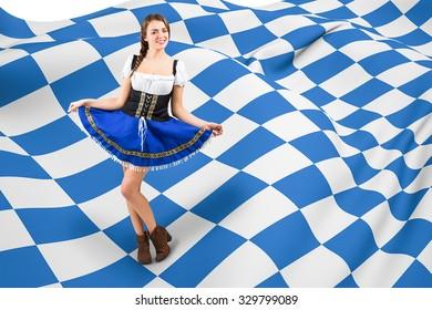 Oktoberfest girl spreading her skirt against blue and white flag