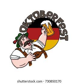 Oktoberfest man holding beer over a German flag cartoon