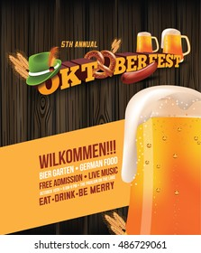 Oktoberfest poster with sausage, pretzel and beer.
