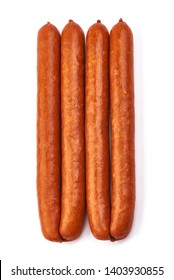 Oktoberfest Smoked Sausages, top view, isolated on white background.
