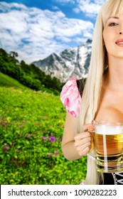 oktoberfest woman with big breast Holds beer mug