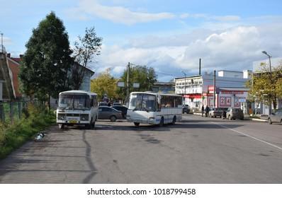 Okulovka, Novgorodskaya Oblast, Russia - September 2017: regional bus station next to Okulovka passenger railway station