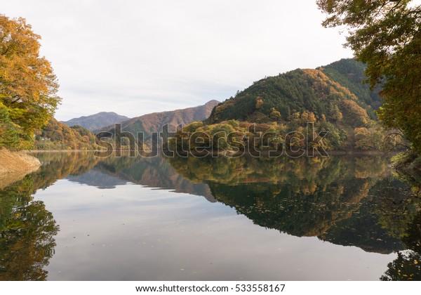 Okutama Lake in autumn season