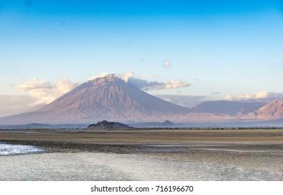 "Ol Doinyo Lengai volcano, ""Mountain of God"" near Lake Natron in Tanzania Africa"
