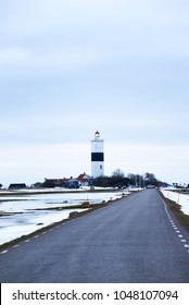 Oland, Sweden - March 10 2018:  Winter season at The Ottenby Lighthouse on the Swedish island Oland in the Baltic Sea