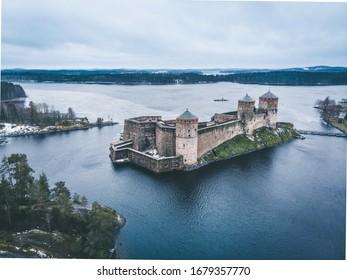 Olavinlinna Castle in the end of autumn