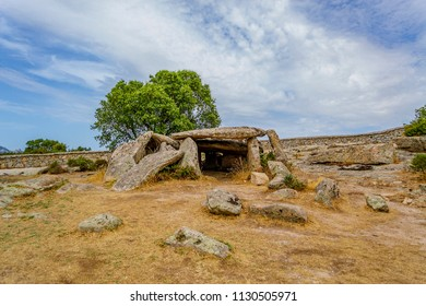 OLBIA TEMPIO, SARDINIA, ITALY - August 17, 2016: Close up of the Dolmen Ladas in Luras, a funerary monument built in the Neolithic period.