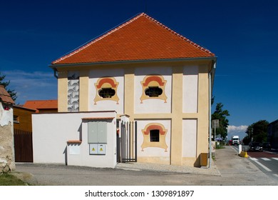 Olbramovice, Czech republic - August 18 2016: Former baroque granary, nowadays used as an exhibition and cultural space.