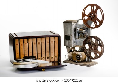 Old 16mm movie wooden storage box and reels from the 1940's.