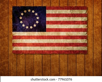 Old 1777 flag of USA on old wooden wall, USA flag for USA Independence Day, USA Betsy Ross flag