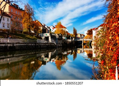 Old 17th town Ljubljana at the sunny autumn day