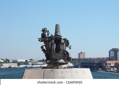 Old 30's cannon facing the port of Brindisi, Italy