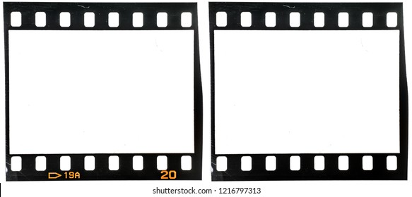Old 35mm film frame or dia strip on white with and without frame edge numbers, just place your picture here to make it look retro