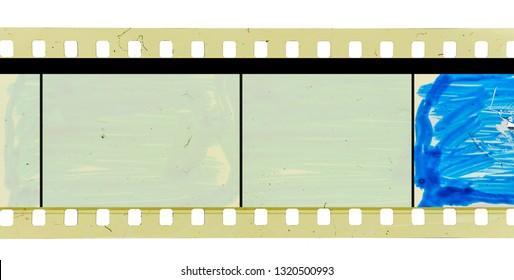 old 35mm movie frame strip on white