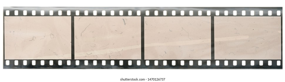 old 35mm negative filmstrip with 4 empty frames or cells