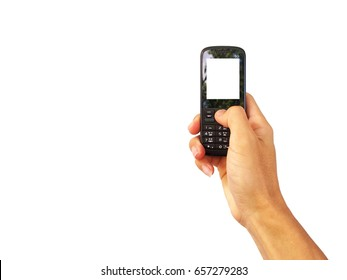 old 3G mobile Phone with white screen in hand