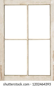 Old 4 pane residential wooden window frame isolated on white with clipping path included.