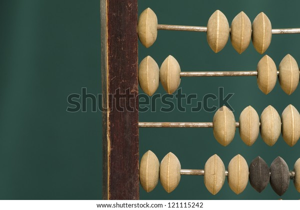 old abacus fragment over green background