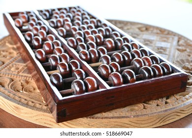 Old abacus on wooden background.