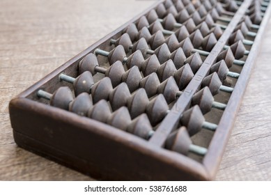 old abacus on wooden background