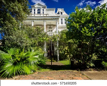 Old abandon house on St. Charles Ave New Orleans LA USA.  This mansion is falling apart and is a beautiful home if someone would invest the money it would take to fix it up.