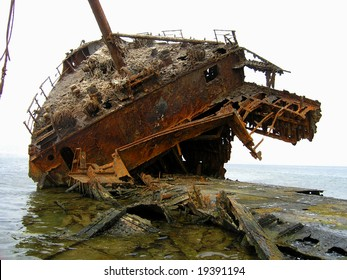 Old abandon ship water on surface