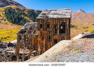 Old abandoned Animas Forks gold and silver mine in the San Juan Mountains of Colorado