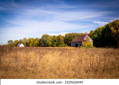 Old abandoned barn in the field autumn season landscape Berthierville Quebec Canada