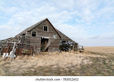 An old abandoned barn sits decaying on the plains and farmland of northeast Montana.
