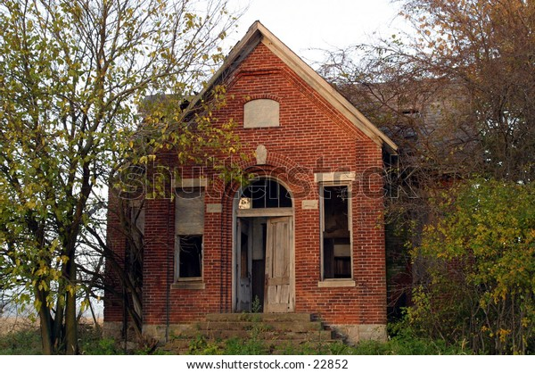 Old abandoned brick school
