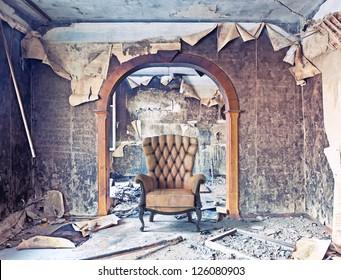 old abandoned burned interior photo