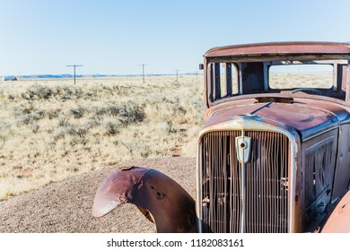 Old abandoned car on Route 66.