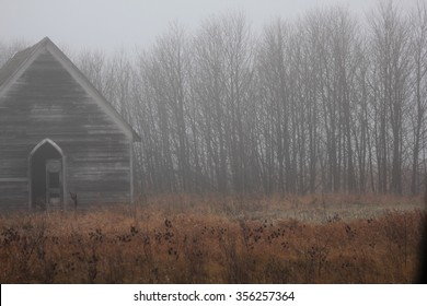 Old Abandoned Church in the Fog