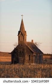 Old abandoned Church on the Kansas Prairie