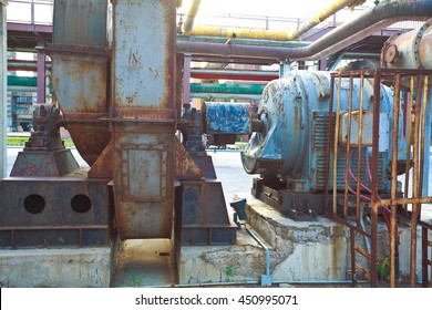 Old abandoned closed steel steelworks of pipelines