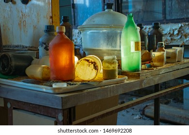 old abandoned colorful chemical laboratory