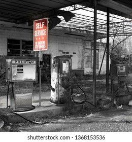 Old Abandoned Gas Station in Black and White