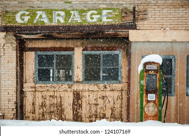 Old Abandoned Gas station with gas pump