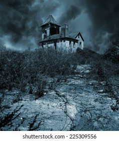 Old abandoned haunted house for Halloween holiday.