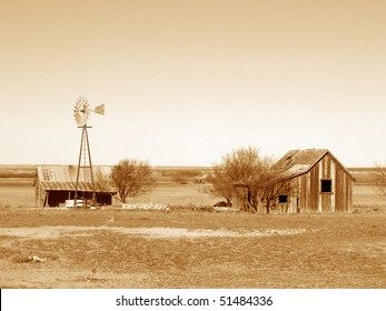 Old Abandoned Homestead in sepia