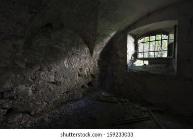 Old abandoned house dark vintage interior shoot