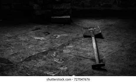 Old abandoned house. Vintage interior. Black and white interior details. Atmosphere of loneliness and solitude. Low light capture. Fear, emptiness, despair.