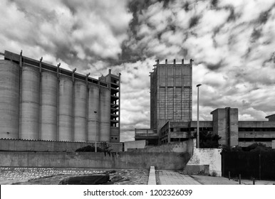 old abandoned industrial silos