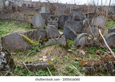 Old abandoned jewish cementery with destroyed tombstones