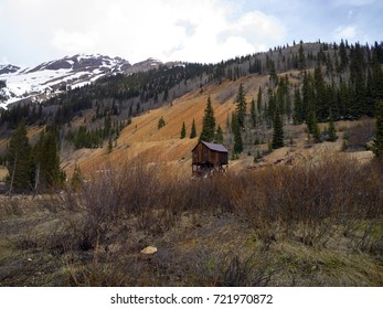 Old abandoned mining shack in the mountains north of Silverton, Colorado