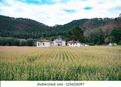 Old abandoned monastery on Camino Norte Spain. Camino de Santiago in Asturias.